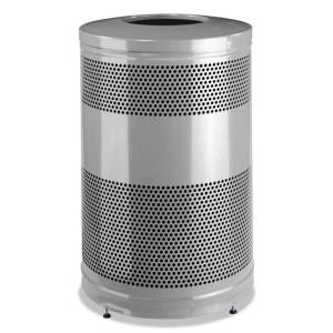 Rubbermaid Commercial Classics Round Steel Open-Top Waste Receptacle, 51 Gallons, Black/Stardust Silver Metallic