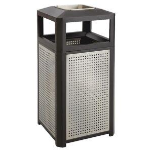 Safco Evos Steel Waste Receptacle With Ashtray, 38-Gallon, Black/Gray
