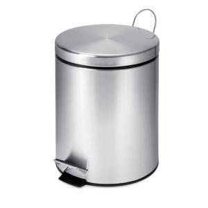 Honey Can Do Honey-Can-Do Steel Step Trash Can, Round, 1.3 Gallons, Stainless Steel
