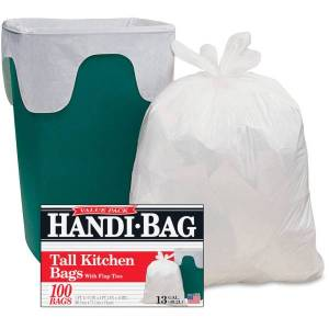 """Webster Handi-Bag Flap Tie Tall Kitchen Bags - 10 gal - 23.50"""" Width x 29"""" Length x 0.60 mil (15 Micron) Thickness - White - Hexene Resin - 600/Carton"""