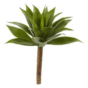 """Nearly Natural 32""""H Plastic Agave Plant With Stem, Brown/Green"""