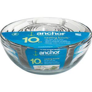 Anchor Hocking 10 Piece Set - 1 fl oz Mixing Bowl, 1.9 fl oz Mixing Bowl, 4 fl oz Mixing Bowl, 6 fl oz Mixing Bowl, 4.2 fl oz Mixing Bowl, 16 fl oz Mi
