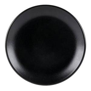 """Foundry Round Coupe Plates, 9 5/8"""", Black, Pack Of 12 Plates"""
