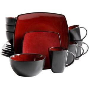 "Gibson Home Soho Lounge 16-Piece Dinnerware Set, Red - Dinner Plate, Dessert Plate, 6.25"" Diameter Bowl, 12 fl oz Mug - Stoneware - Dishwasher Safe -"
