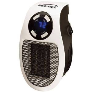 Brentwood H-C350W 350-Watt Plug-In Wall Outlet Personal Space Heater - Ceramic - Electric - Electric - 350 W - 350 W - Wall Mount - White, Black