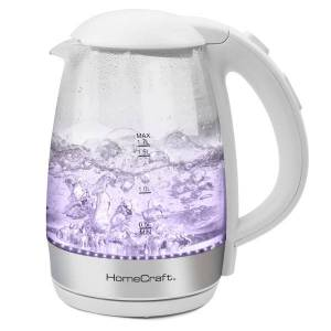 Nostalgia Electrics HomeCraft 7-Cup Glass Electric Kettle, White