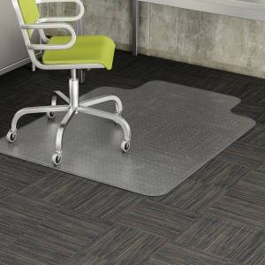 "Deflecto DuraMat Chair Mat For Low-Pile Carpet, Wide Lip, 45""W x 53""D, Clear"