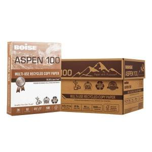"""Boise ASPEN 100 Multi-Use Paper, Letter Size (8 1/2"""" x 11""""), 20 Lb, 100% Recycled FSC Certified, Ream Of 500 Sheets, Case Of 10 Reams"""