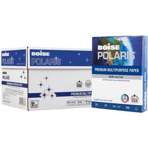 "Boise POLARIS Premium Multi-Use Paper, Letter Size (8 1/2"" x 11""), 97 (U.S.) Brightness, 24 Lb, FSC Certified, Ream Of 500 Sheets, Case Of 10 Reams"