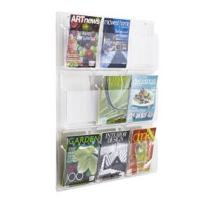 United Stationers Clear Literature Rack, Magazine, 9 Pockets