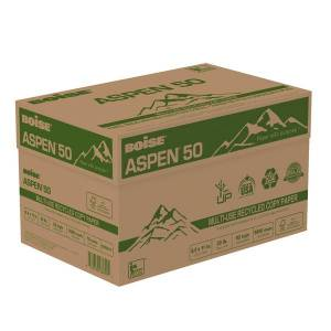 """Boise ASPEN 50 Multi-Use Paper, Letter Size (8 1/2"""" x 11""""), 20 Lb, 50% Recycled, FSC Certified, Ream Of 500 Sheets, Case Of 10 Reams"""