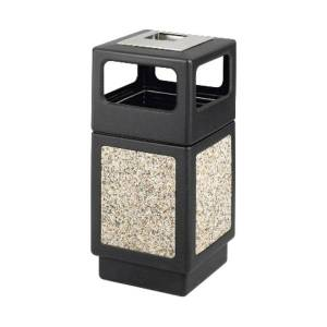 """Safco Plastic/Stone Aggregate Receptacle, 38 Gallons, 39"""" x 18 1/4"""" x 18 1/4"""", Black"""
