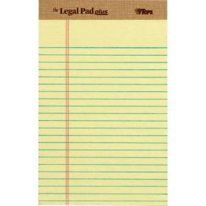 """Tops The Legal Pad 71501 Notepad - 50 Sheets - 8"""" x 5"""" - Canary Paper - Perforated - 1Dozen"""