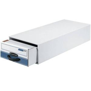 """Bankers Box Steel Plus Plastic Storage Drawer, 6 1/2"""" x 10 1/2"""" x 25 1/4"""", 65% Recycled, White/Blue"""