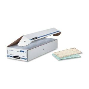"""Bankers Box Econo Stor/File Standard-Duty Storage Boxes, 9"""" x 24"""" x 4"""", 65% Recycled, White/Blue, Case Of 12"""