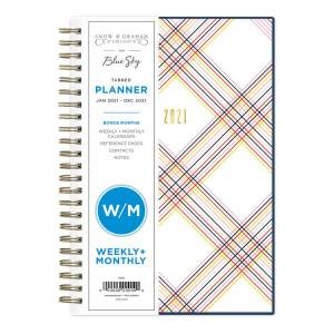 """Blue Sky Snow And Graham Weekly/Monthly Planner, 5"""" x 8"""", Multi Tottie, January To December 2021, 121901"""