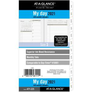 "AT-A-GLANCE Daily/Monthly Planner Refill, 3-3/4"" x 6-3/4"", January To December 2021, 471-225"