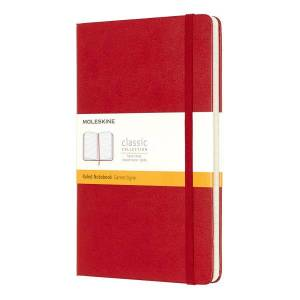 """Moleskine Classic Hard Cover Notebook, 5"""" x 8-1/4"""", Ruled, 240 Pages (120 Sheets), Red"""