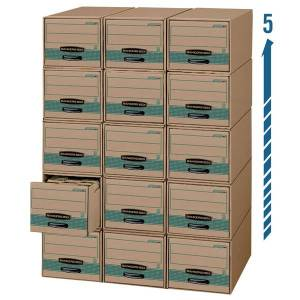 """Bankers Box Stor/Drawer Steel Plus Drawer Files, Letter Size, 23 1/4"""" x 12 1/2"""" x 10 3/8"""", 100% Recycled, Kraft/Green, Pack Of 6"""