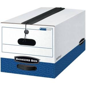 """Bankers Box Liberty Plus FastFold Heavy-Duty Storage Boxes With Locking Lift-Off Lids And Built-In Handles, Legal Size, 24"""" x 15"""" x 10"""", 60% Recycl"""