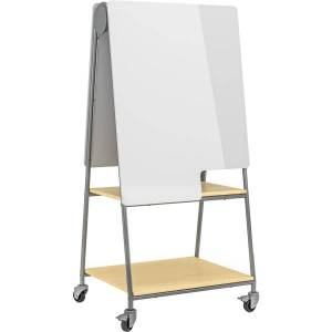 """Safco Learn Mobile Whiteboard, 63-7/16""""H x 30""""W x 24-1/16""""D, White/Silver"""