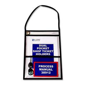 "C-Line Stitched 2-Pocket Shop Ticket Holders, 9"" x 12"", Pack Of 15"