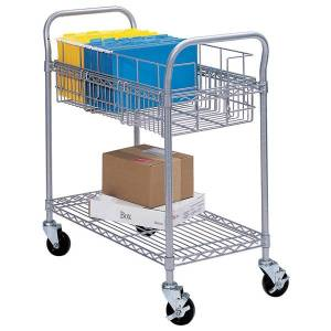 """Safco Wire Mail Cart, 38 1/2""""H x 26 3/4""""W x 18 3/4""""D, Metallic Gray"""