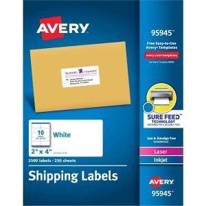 """Avery� Shipping Labels, Sure Feed(TM) Technology, Permanent Adhesive, 2"""" x 4"""", 2,500 Labels (95945)"""