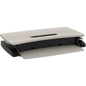 Ergotron WorkFit-Z Mini Sit-Stand Desktop - Wood Grain Rectangle, Dove Gray Top