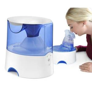 "Crane 2-In-1 Warm Mist Humidifier and Personal Steam Inhaler, 0.5 Gallon, 6 1/2"" x 8"" x 8 1/2"", Blue/White"