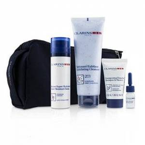 ClarinsMen Everyday Heroes Set: 1x Exfoliating Cleanser 125ml + 1x Super Moisture Balm 50ml + Shampoo & Shower 30ml + Shave Ease 3ml 4pcs
