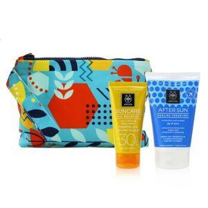 ApivitaSuncare Gift Set: Oil Balance Face Cream (Immortelle & 3D Pro-Algae) SPF30 50ml + After Sun Cooling Cream-Gel 100ml 2pcs+1pouch