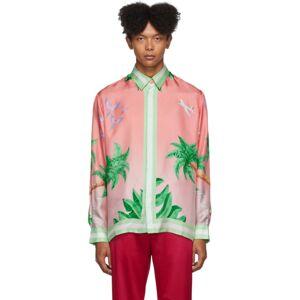 Casablanca SSENSE Exclusive Pink Silk Tennis Club Shirt