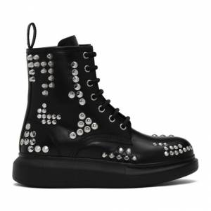 Alexander McQueen Black Studded Hybrid Lace-Up Boots