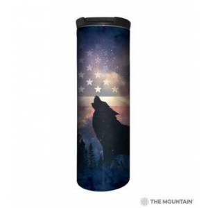 The Mountain Patriotic Howl Stainless Steel Travel Tumbler   The Mountain