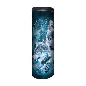 The Mountain Dreamcatcher Wolf Collage Stainless Steel Travel Tumbler   The Mountain