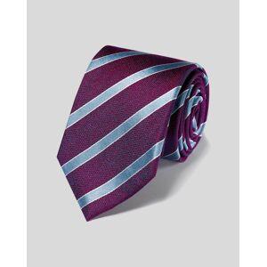 Charles Tyrwhitt Silk Stripe Classic Tie - Berry & Sky