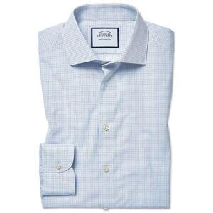 Charles Tyrwhitt Classic Fit Peached Egyptian Cotton Blue Check Dress Shirt Single Cuff Size 16.5/35 by Charles Tyrwhitt