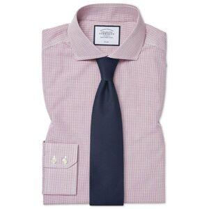 Charles Tyrwhitt Classic Fit Non-Iron Tyrwhitt Cool Poplin Check Berry Cotton Dress Shirt Single Cuff Size 16.5/34 by Charles Tyrwhitt