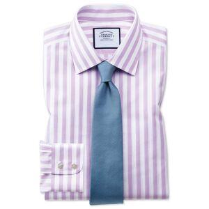 Charles Tyrwhitt Extra Slim Fit Non-Iron Purple Wide Bengal Stripe Cotton Dress Shirt Single Cuff Size 15.5/35 by Charles Tyrwhitt
