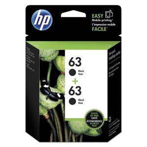 HP 63 Original Ink Cartridge - Inkjet - Standard Yield - 190 Pages Black (Per Cartridge) - Black - 2 / Pack