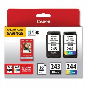 Canon 1287C005 (Cl-244; Pg-243Bk) Ink Combo Pack, 50 Sheets Of 4 X 6 Photo Paper Glossy, Black/Color