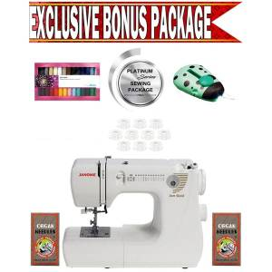 Janome Jem Gold 660 Sewing Machine w/ Exclusive Platinum Series Sewing Package! (Portable)