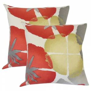 The Pillow Collection Set of 2  Samiya Floral Throw Pillows in Coral