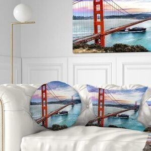DESIGN ART Designart 'Golden Gate in San Francisco' Sea Bridge Throw Pillow (Round - 16 inches round - Small)