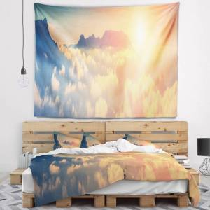 DESIGN ART Designart 'Sky above Floating Clouds' Contemporary Landscape Wall Tapestry (60 in. x 50 in.)