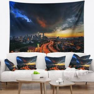 DESIGN ART Designart 'Busy Elevated Highway in Kula Lumpur' Cityscape Wall Tapestry (60 in. x 50 in.)