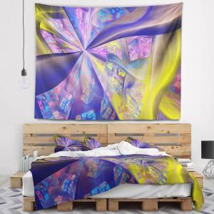 DESIGN ART Designart 'Purple Yellow Fractal Curves' Abstract Wall Tapestry (80 in. x 68 in.)