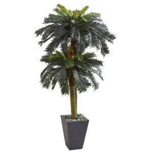 Nearly Natural 6' Double Sago Palm Artificial Tree Slate Finished Planter - h: 6 ft. w: 34 in. d: 34 in (h: 6 ft. w: 34 in. d: 34 in)