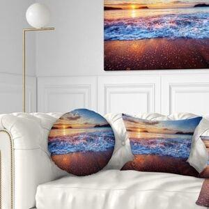 DESIGN ART Designart 'Blue Sea Waves during Sunset' Seashore Throw Pillow (Round - 16 inches round - Small)
